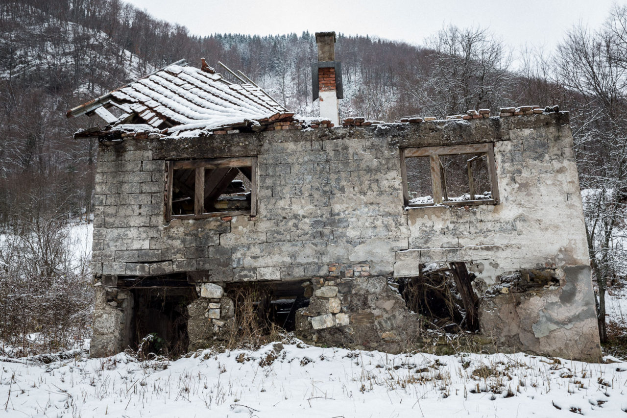 War damaged and ethnically cleansed home outside Vares, Central Bosnia