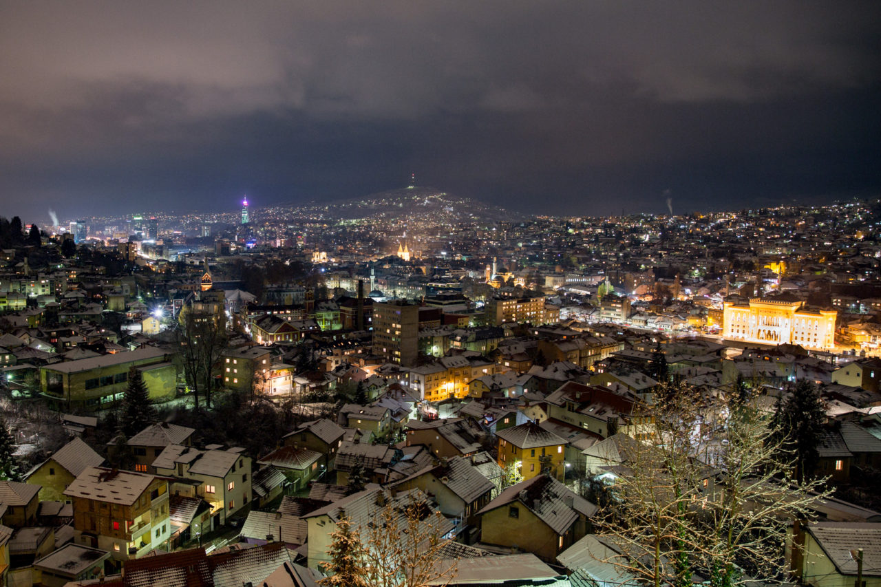 Sarajevo City Centre and suburbs by night