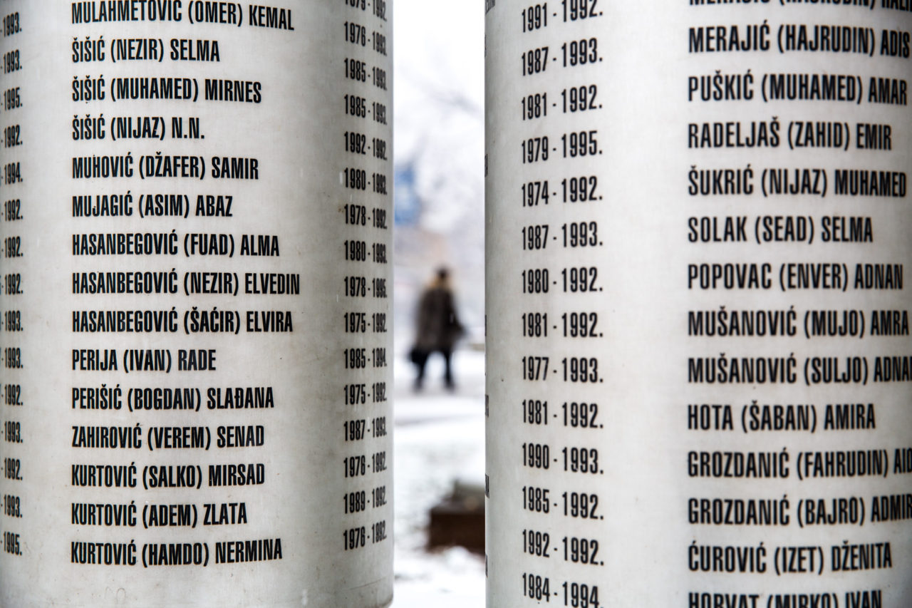 Memorial to the children killed during the war and siege in Sarajevo